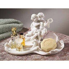 Baby Angel Cherub Sculpture Decorative Bonded Marble Resin Soap Dish Tray