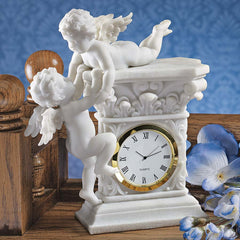 French Baroque Style Decorative Baby Cherubs Sculpture Table Clock [Kitchen]