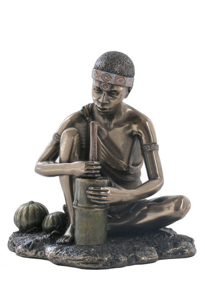 African Woman Grinding Grain (Bronze) - Ethnic Collectibles.