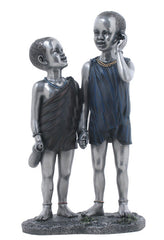 Maasai Kids Hand In Hand (Pewter) - Ethnic Collectibles.