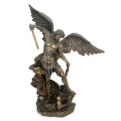 St Michael Standing  Over Demon With Sword -Large (Bronze) - Religious