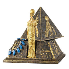 Egyptian Goddess Isis Pyramid Treasure Box Sculpture