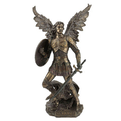 St Michael Standing On Demon With Sword And Shield Sculpture Figurine