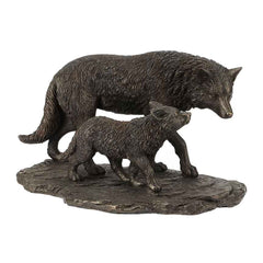 wolf-and-cubbronze-animal