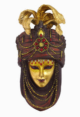 Mask With Turban Wall Plaque (Maroon & Gold) - Home Accent