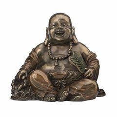 Laughing Buddha (Budai) Holding Beads And Fan Ethnic Sculpture