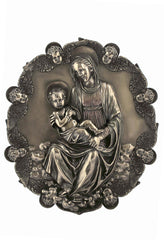 Theotokos And Baby Jesus Surrounded By Winged Cherub Heads Wall Plaque - Religious.