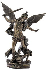 St Michael With Helmet And Sword Slaying The Demon  - Religious Sculpture Figurine
