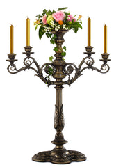 "Large Candelabrum - 34""Baroque Styled 4 Candles +Flower Pot On Center Top(Bronze) - Home Accent"