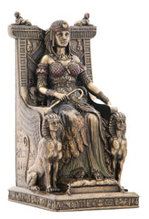 Egyptian Queen Sitting In The Throne - Art Nouveau & Art Deco Sculpture Figurine