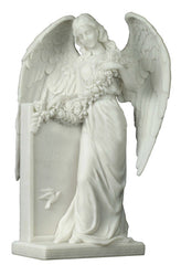 Weeping Angel Holding Flowers At The Tombstone - Religious