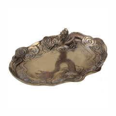 Chinese Dragon Dish Bronze Finish Sculpture