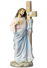 Jesus With Sacred Heart Leaning On The Dove Cross (Light Color) - Religious