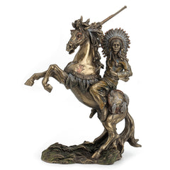 Sioux Chief Raising Rifle On A Rearing Horse (Mbz+Color) - Americana Sculpture - Cold Cast Bronze