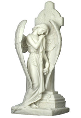 Weeping Angel Leaning On Celtic Cross (Marble White) - Religious