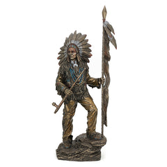 Indian Chief Holding Feathered Spear And Peace Pipe - Americana Sculpture - Cold Cast Bronze