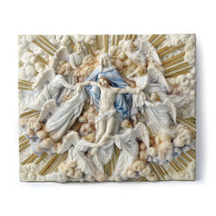 Madonna Holding Jesus With Angels Wall Plaque (Light Color) - Religious