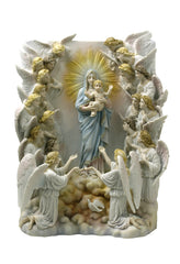 Maria Regina Angelorum(With 19 Angels) - Wall Plaque (Light Color) - Religious