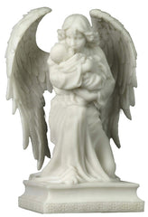 Angel On One Knee Holding Baby (Marble White) - Religious