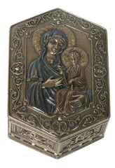 Theotokos And Baby Jesus Hexagonal Trinket Box - Religious
