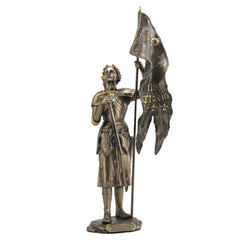 Joan Of Arc Standing With Sword And Flag (Mbz+Color) - Knights & Warriors Sculpture - Cold Cast Bronze