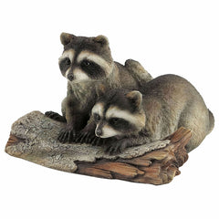 Racoons On A Log Animal Sculpture