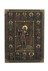 St Michael Surrounded By Saints - Iconic Wall Plaque - Religious