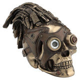 Steampunk Skull With Wire Hair And Leather Goggles - Steampunk