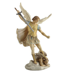 St. Michael Standing On Demon With Sword - Religious Sculpture - Polystone