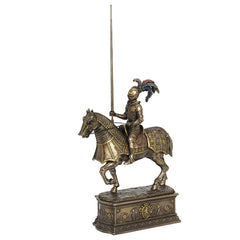 Medieval Armored Knight And Horse With Jousting Lance On Decorated Base - Knights & Warriors