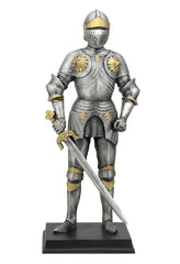Medieval Armor Holding Sword And Large Besagews - Knights & Warriors Sculpture - Polystone