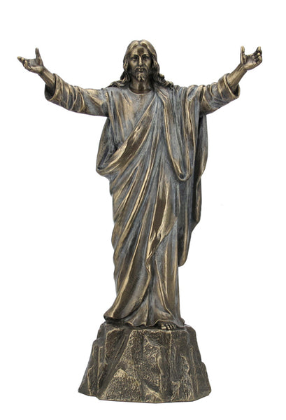Jesus With Open Arms Standing On Stone - Religious