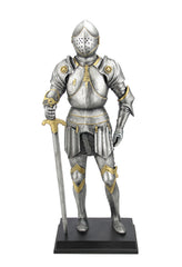 Medieval Armor Holding Sword And Wheels On Pauldrons - Knights & Warriors Sculpture - Polystone