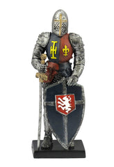 Medieval Armor With Sword And Lion On Shield - Classic Sculpture - Polystone
