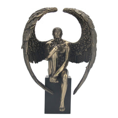 Winged Nude Male Sitting On Plinth - Artistic Body