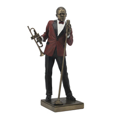 Jazz Band - Male Singer With Trumpet - Americana Sculpture - Cold Cast Bronze