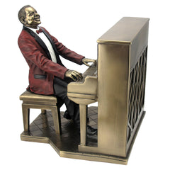 Jazz Band - Pianist (Red Suit) - Americana Sculpture - Cold Cast Bronze