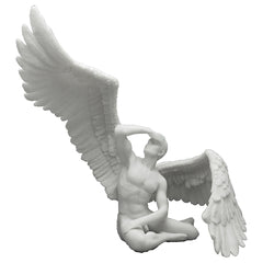 Winged Nude Male Sitting With Right Wing Extended (Marble White) - Artistic Body Sculpture - Polystone