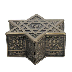 Star Of David With Menorah Trinket Box - Religious