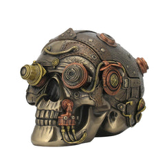 Steampunk Skull With Leather Texture Trinket Box (Mbz+Copper) - Home Accent