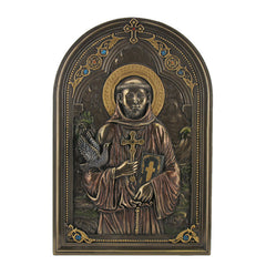 Iconic Style St Francis With Dove Wall Plaque - Religious