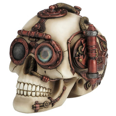 Steampunk Skull With Secret Drawer Trinket Box - Myth & Legend Sculpture - Polystone