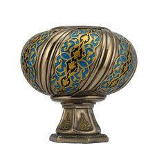 Arabesque Pattern Globular Top On Hexagonal Stand Tea Light Holder - Home Accent