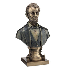 Abraham Lincoln Bust On Plinth (Mbz+Color) - Americana Sculpture - Cold Cast Bronze