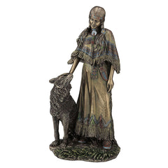 Indian Woman Petting Wolf - Americana Sculpture - Cold Cast Bronze