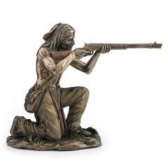 Indian Warrior Kneeling And Shooting Rifle - Ethnic Collectibles Sculpture - Cold Cast Bronze