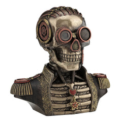 Steampunk Skull Band Uniform Bust Trinket Box - Myth & Legend