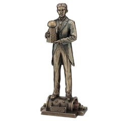 Nikola Tesla Holding A Model Of Wardenclyffe Tower - Americana Sculpture - Cold Cast Bronze