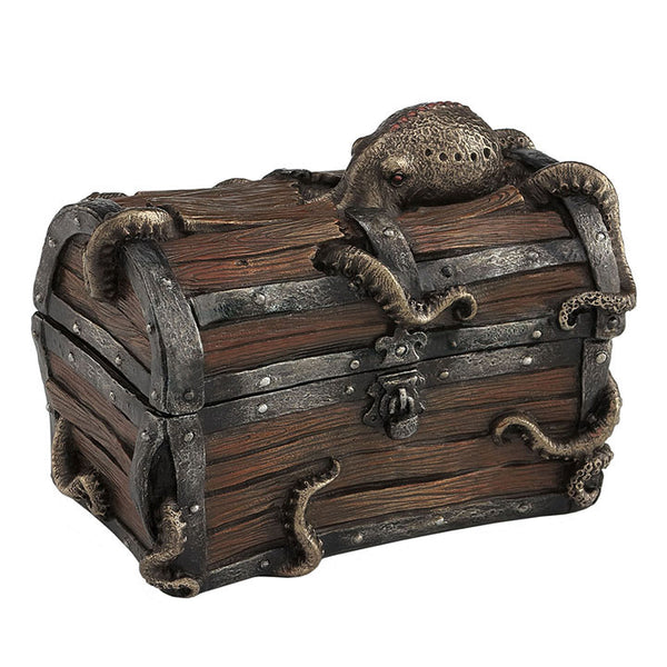 Octopus Cracked Treasure Chest Trinket Box - Steampunk Sculpture - Cold Cast Bronze