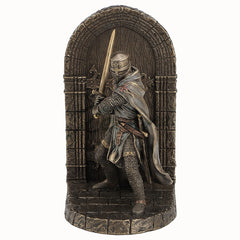 Armored Maltese Crusader With Sword Guarding Door - Bookend - Home Accent
